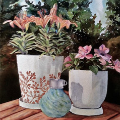 Globe & Potted Plants