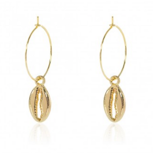 COWRY HOOP EARRINGS