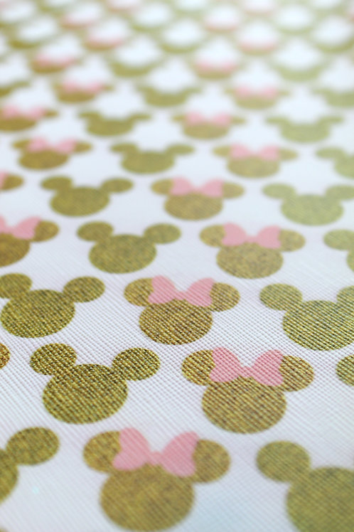 Minnie & Mickey Gold Faux Leather Sheets