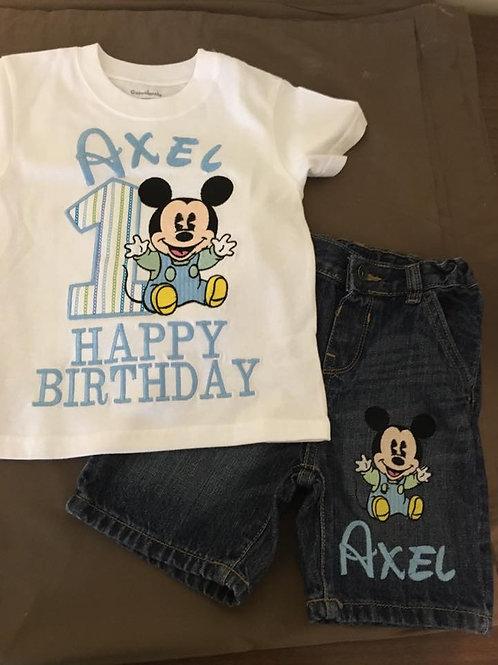 Playera con Shorts Inspirado en Micky Mouse Baby