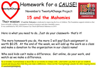 November's Homework for a Cause