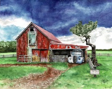 Red Barn with Blue Car.jpeg