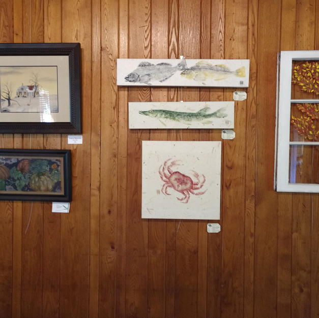Hanging the Art Show - Sharron