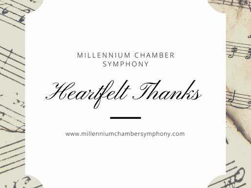 A Heartfelt Thank You from Millennium Chamber Symphony