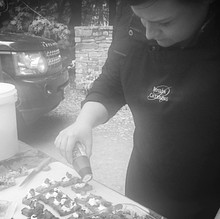 Kathryn preparing Canapes