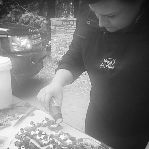 Kathryn preparing Canapes