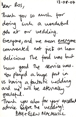 Roslin Catering Testimonial