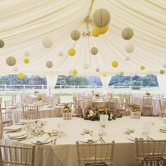 Yellow adn Gret Marquee Lanturns Tents & Marquees Shrewsbury Shropshire