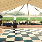 Black and White Dance Floor and Decked End Tents & Marquees Shrewsbury Shropshire