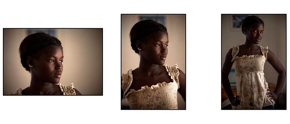 retrato colorido, posado, de uma jovem negra, cidadã da cidade de Porto Príncipe, Haiti.  © 2011 Moskow