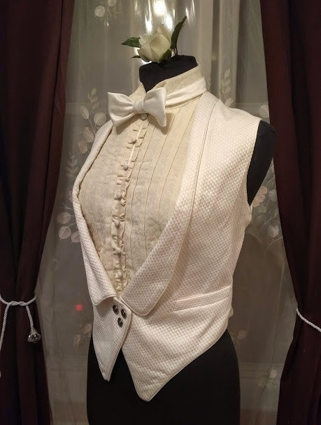 MENSWEAR FOR WOMEN: 1920s Tuxedo vest, dickie, and bow tie