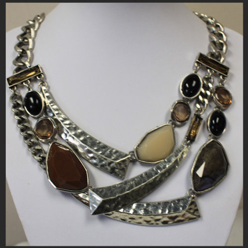 LARGE CHAIN MULTI STONE NECKLACE