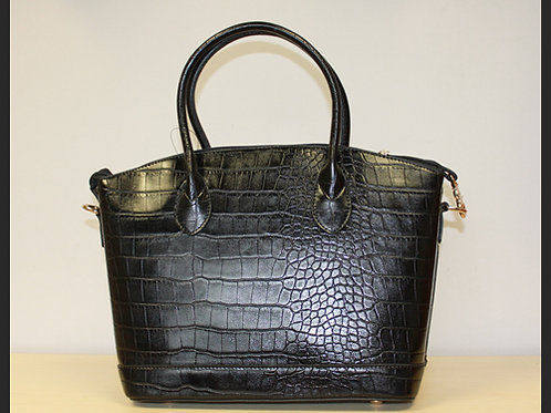 LARGE BLACK ANIMAL PRINT HANDBAG