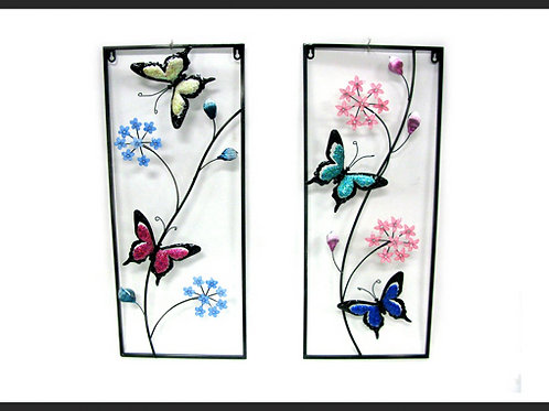 2 PIECE 3D FLOWER / BUTTERFLY WALL ART