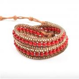 RED WRAP BEAD BRACELET