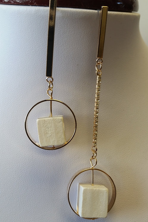 Gold Dangle with Cube Earrings