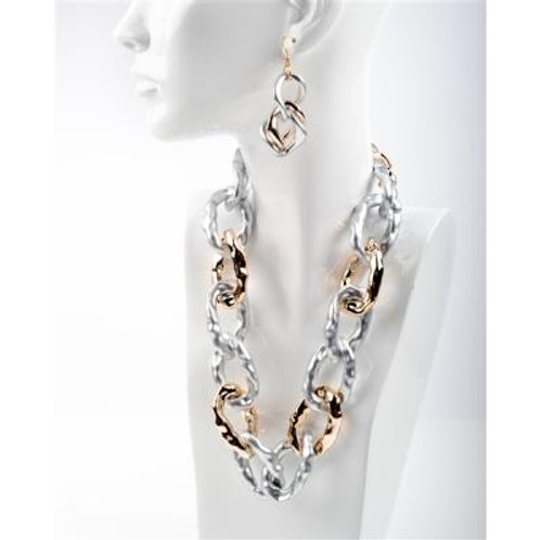 TWO TONE LINK NECKLACE & EARRING SET