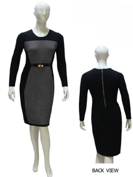 BLACK AND GREY KNIT DRESS