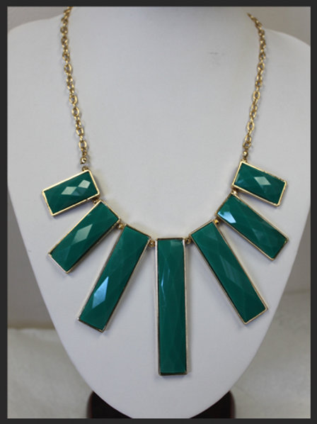 GOLD WITH GREEN RECTANGLE PENDANTS