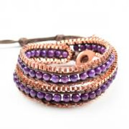 PURPLE WRAP BEAD BRACELET
