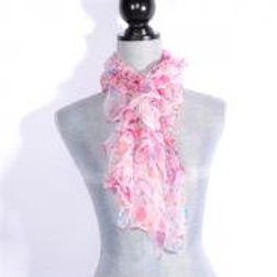 WHITE / PINK LIGHT & LIVELY SILK SCARF