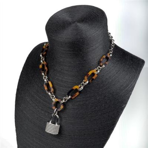 TWO TONE LOCK NECKLACE