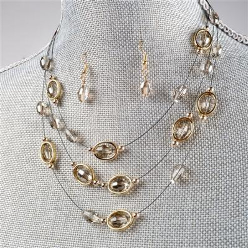 OVAL GREY NECKLACE & EARRING SET