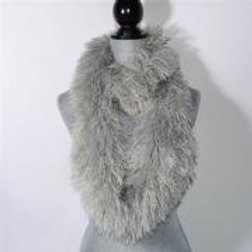 GREY FLUFFY INFINITY SCARF