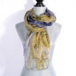 GREEN / BLUE LIGHT & LIVELY SILK SCARF