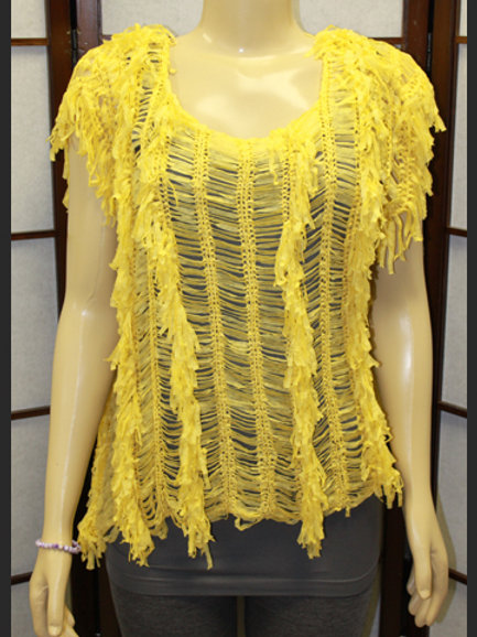 YELLOW SHRED TOP