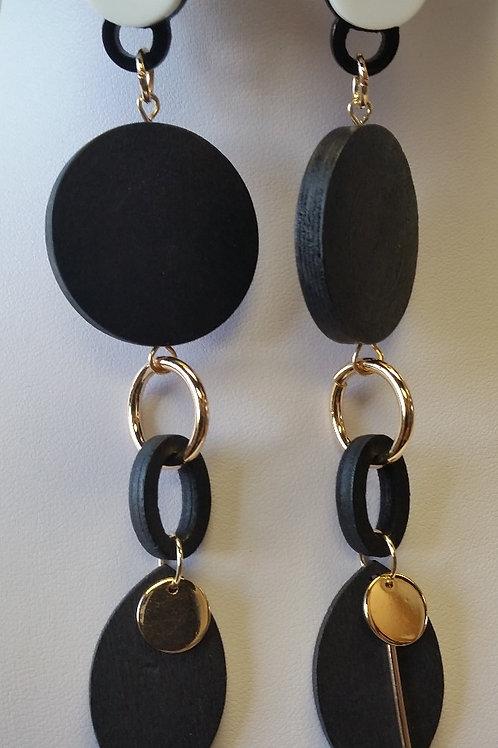 Black/Gold Wood Dangle Earrings