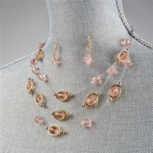 OVAL PINK NECKLACE & EARRING SET