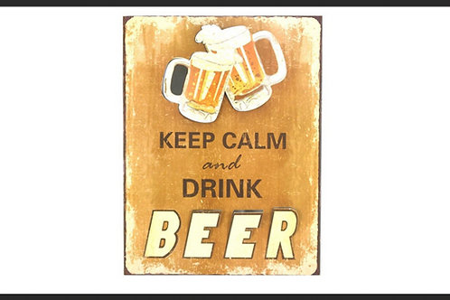 """KEEP CALM & DRINK BEER"" 3D METAL SIGN"