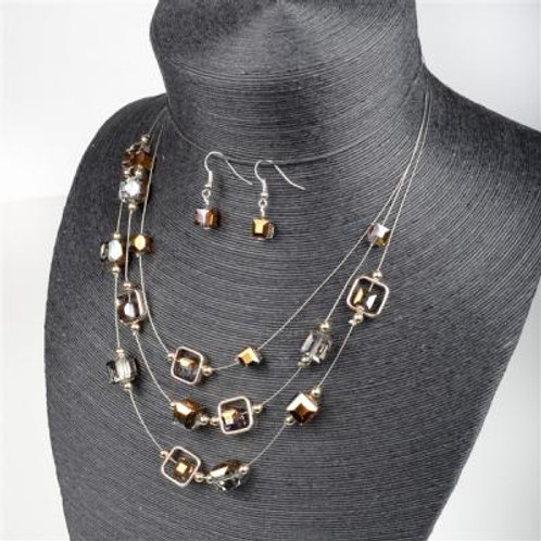 NECKLACE/EARRING SET BROWN