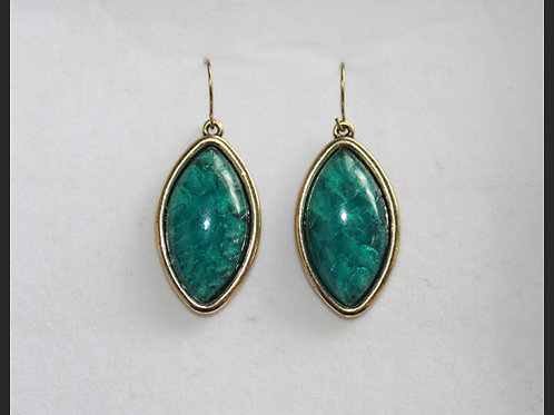TEAL OVAL EARRINGS