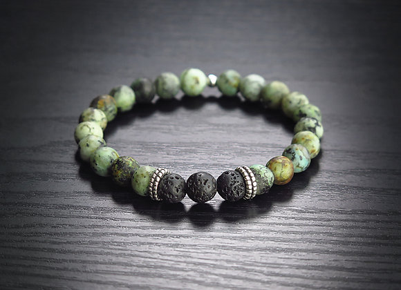African Turquoise + Lava Bead Bracelet