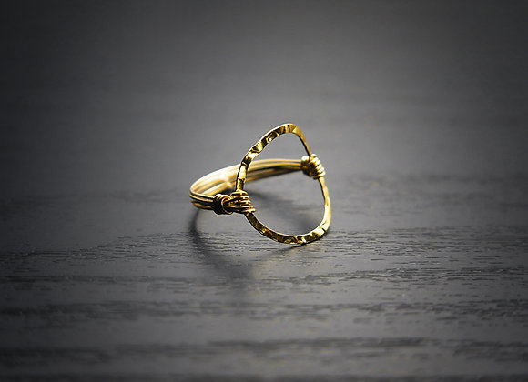 Gold Hammered Circle Ring - Front View