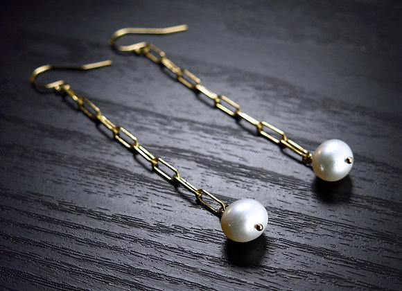 Freshwater Pearl & Gold Link Earrings - Perspective View