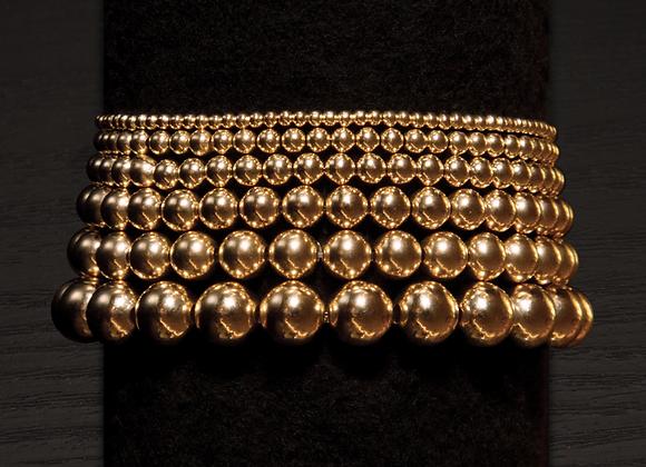 14K Gold-Filled Ball Bead Stretch Bracelets - Size Stack