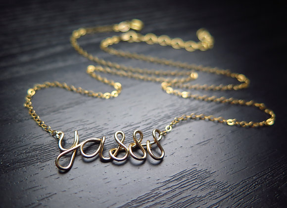 Personalized Wire-Wrapped Name Necklace - Close-up