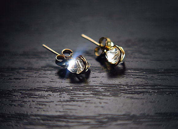 Herkimer Diamond Stud Earrings - Front View Sparkling