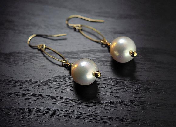 Baroque Pearl Drop Earrings Top View