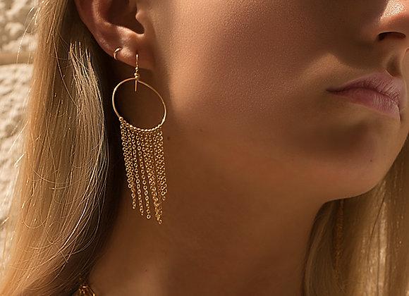 Fringe Chain Hoop Earrings - 14k Gold-Fill - Worn on Model