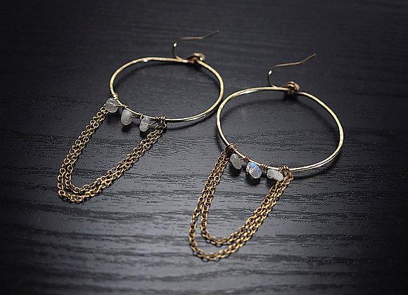 Moonstone Chain Hoop Earrings Perspective View