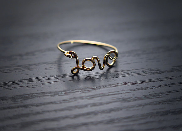 "Gold ""Love"" Wire Wrapped Ring"