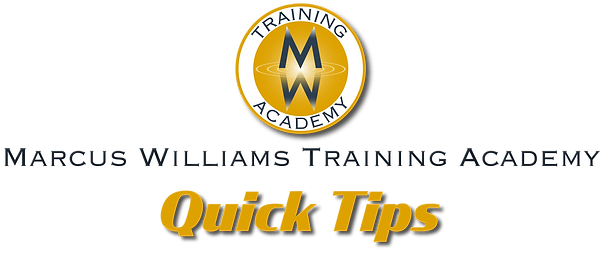 Marcus Williams Training Academy Quick Tips