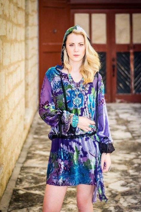 Hood Dress in Velvet Print