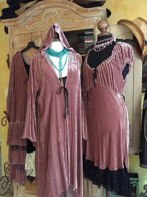 Pink Hoodie Coat & Saloon Dress Silk Velvet