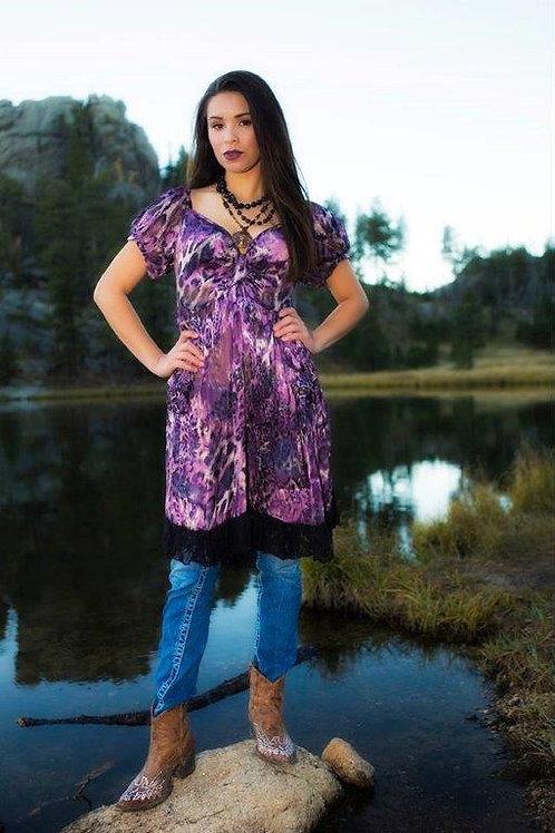 Bella Dress in Leopard Silk & Lace