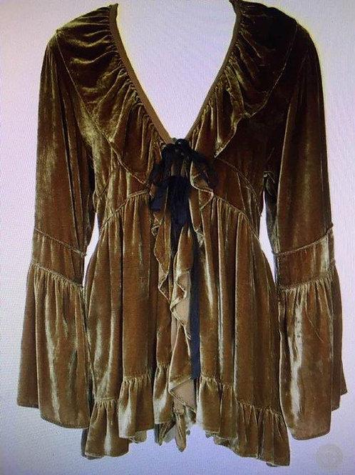 Vintage Duster in Gold Silk Velvet